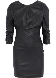 Iro Woman Jordan Pleated Leather Mini Dress Black