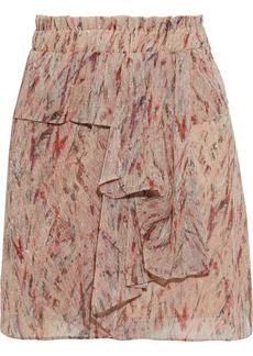 Iro Woman Joucas Ruffled Printed Lurex Mini Skirt Neutral