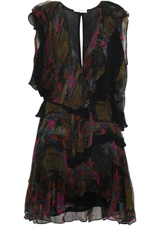 Iro Woman Julia Ruffled Printed Georgette Mini Dress Black