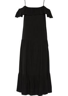 Iro Woman Juliet Cold-shoulder Ruffle-trimmed Gauze Maxi Dress Black