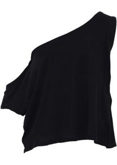 Iro Woman Kael One-shoulder Cotton And Silk-blend Jersey Top Black