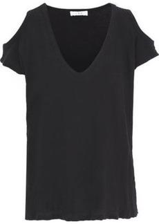 Iro Woman Kahys Cold-shoulder Cotton And Silk-blend Jersey T-shirt Black