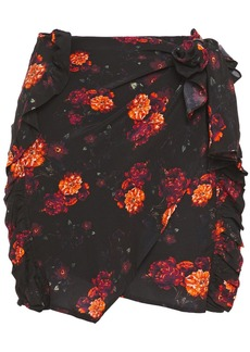 Iro Woman Kasper Wrap-effect Floral-print Crepe De Chine Mini Skirt Black