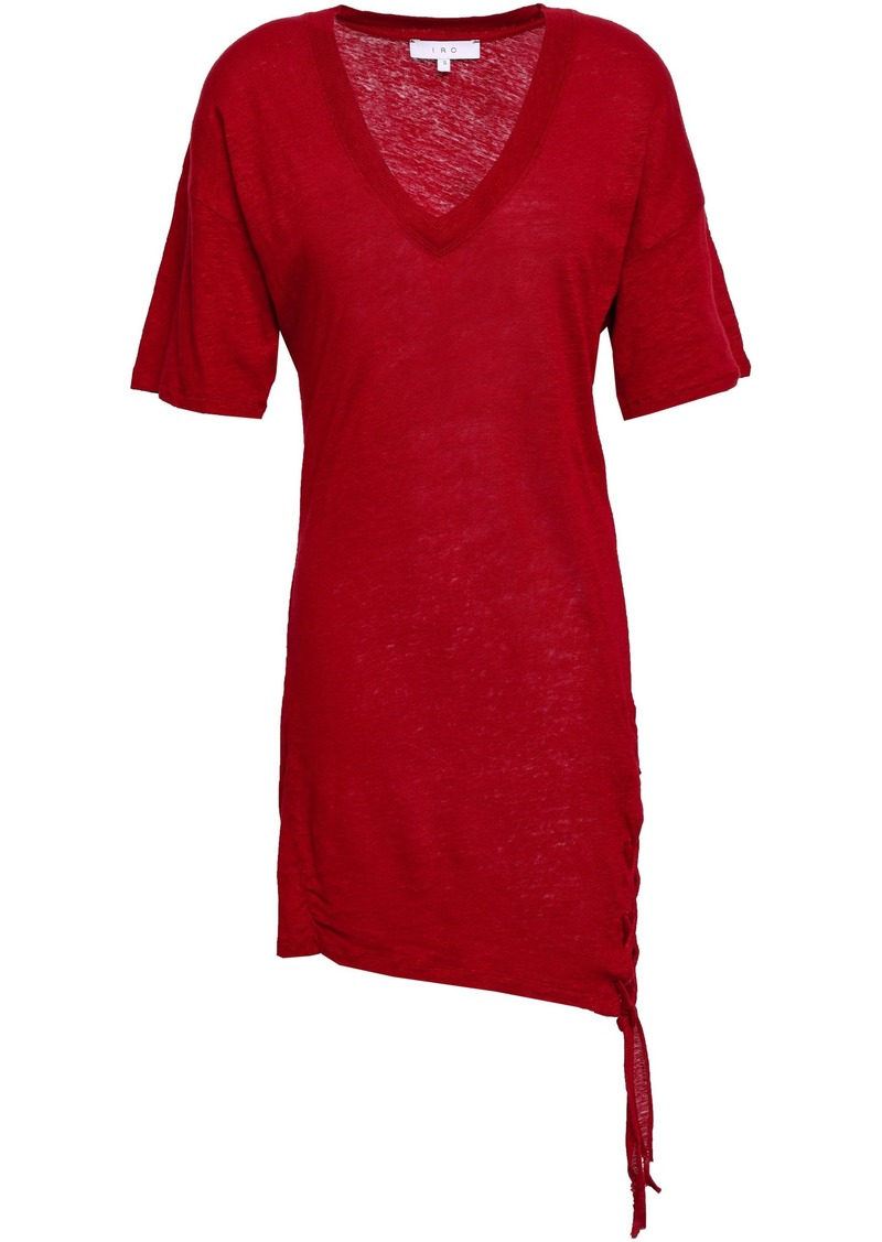 Iro Woman Keraba Lace-up Slub Linen-jersey Mini Dress Crimson