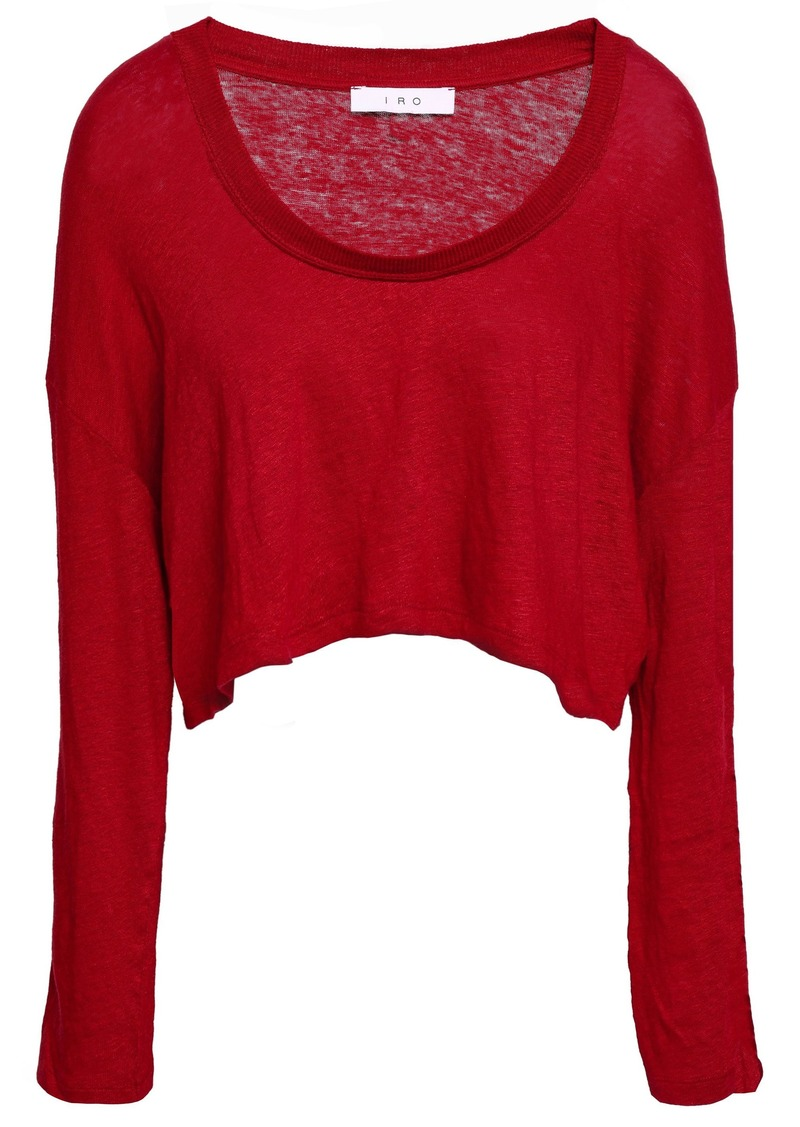 Iro Woman Cropped Lace-up Slub Linen-jersey Top Crimson