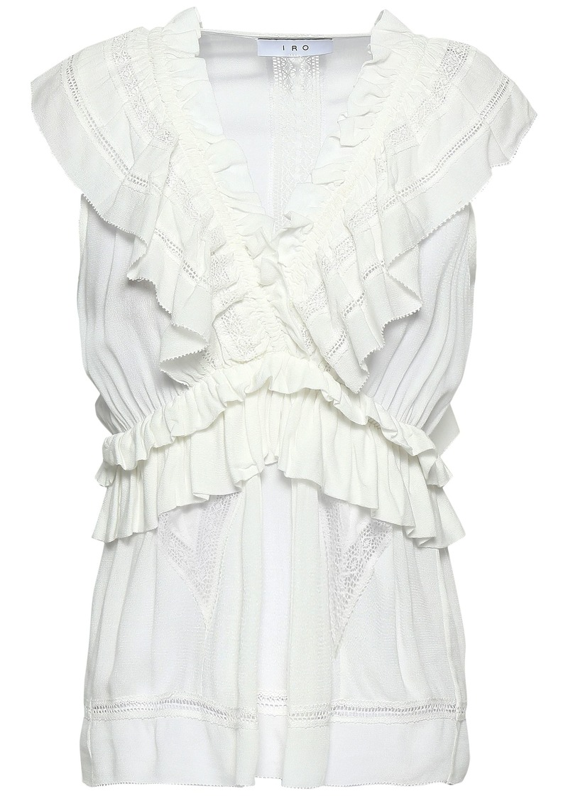 Iro Woman Kess Lace-trimmed Ruffled Crepe Blouse Ivory