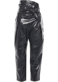 Iro Woman Knotted Glossed-leather Tapered Pants Black