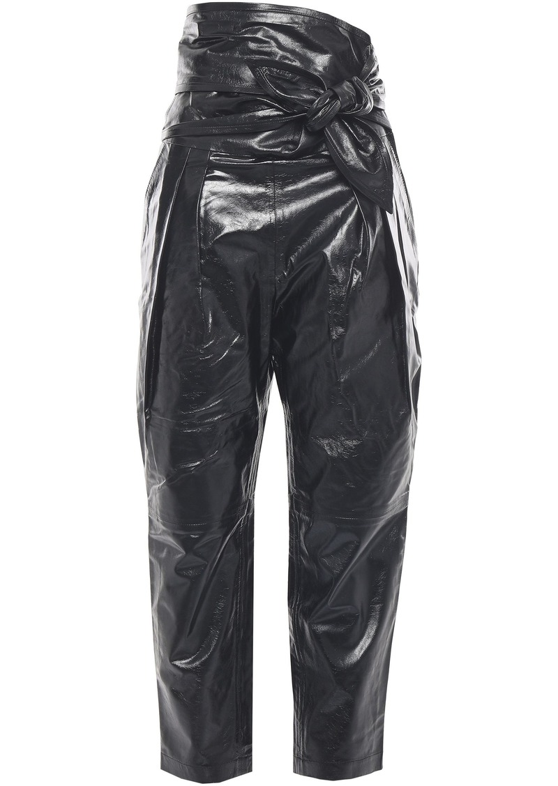 Iro Woman Cropped Knotted Glossed-lather Tapered Pants Black