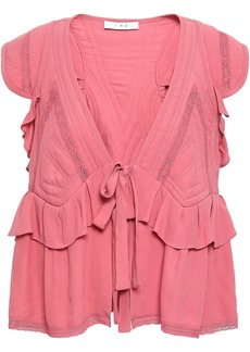 Iro Woman Brone Tie-front Lace-trimmed Ruffled Crepe Blouse Bubblegum
