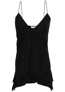 Iro Woman Lace-trimmed Silk Crepe De Chine Camisole Black