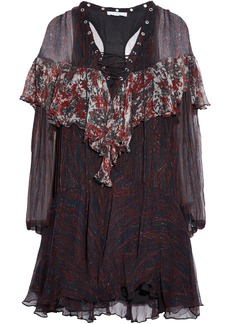 Iro Woman Lace-up Printed Ruffled Georgette Mini Dress Black
