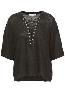 Iro Woman Lace-up Slub Linen-jersey T-shirt Army Green