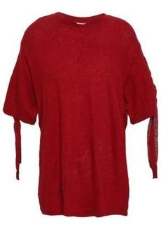 Iro Woman Lace-up Slub Linen-jersey T-shirt Crimson