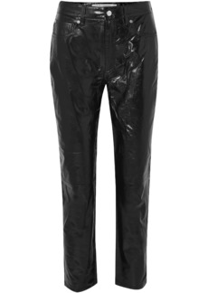 Iro Woman Laker Crinkled-leather Straight-leg Pants Black