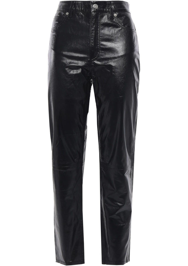 Iro Woman Laker Cropped Glossed-leather Tapered Pants Black