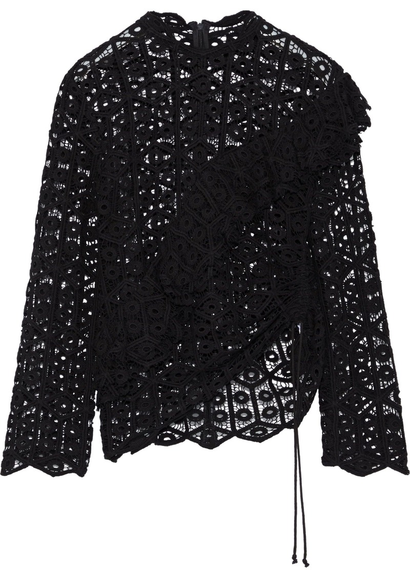 Iro Woman Lamata Ruffled Cotton Macramé Lace Top Black