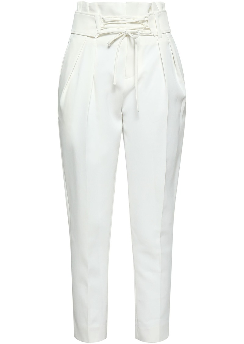 Iro Woman Lamezeta Cropped Belted Cady Tapered Pants Off-white