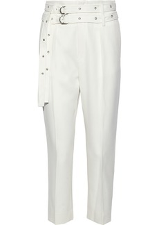 Iro Woman Lana Cropped Belted Wool-twill Tapered Pants Ivory