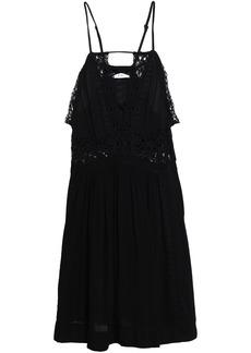 Iro Woman Lattice-trimmed Crochet-paneled Crepe Mini Dress Black