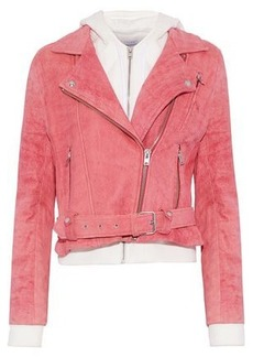 Iro Woman Layered Cotton And Suede Hooded Biker Jacket Pink