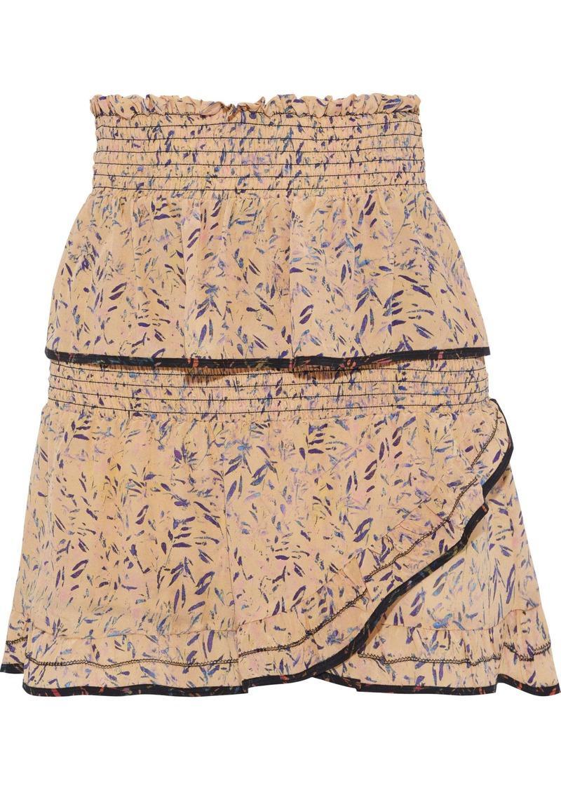 Iro Woman Jully Tiered Printed Silk Crepe De Chine Mini Skirt Pastel Orange