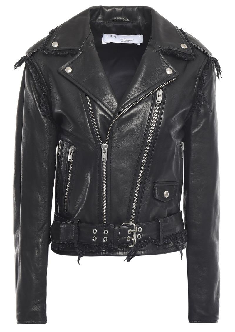 Iro Woman Lenn Frayed Leather Biker Jacket Black