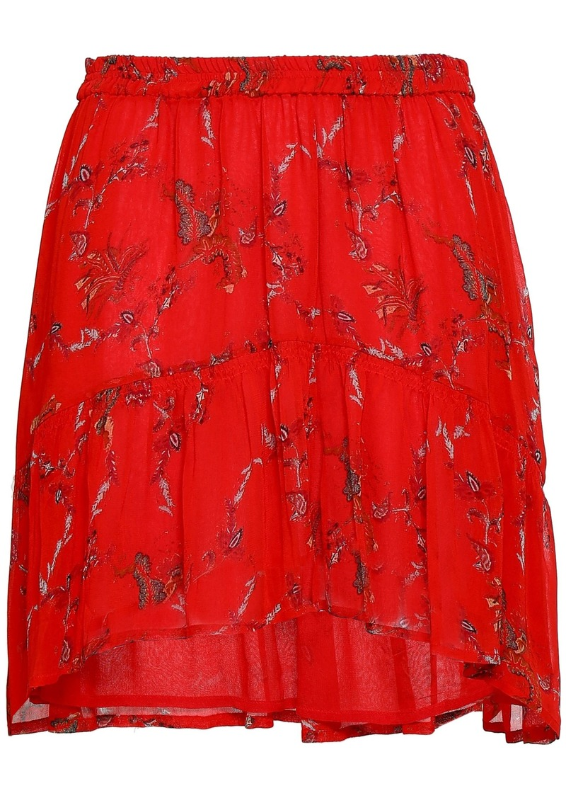 Iro Woman Shirred Printed Georgette Mini Skirt Red