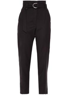 Iro Woman Linaya Belted Wool-twill Tapered Pants Black