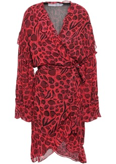 Iro Woman Linger Ruffled Leopard-print Chiffon Mini Wrap Dress Crimson