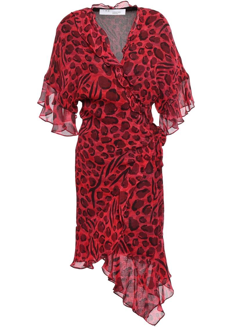 Iro Woman Link Asymmetric Leopard-print Chiffon Mini Wrap Dress Crimson