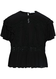 Iro Woman Lucey Crochet-paneled Gauze Peplum Top Black