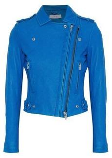 Iro Woman Luigaspe Leather Biker Jacket Bright Blue