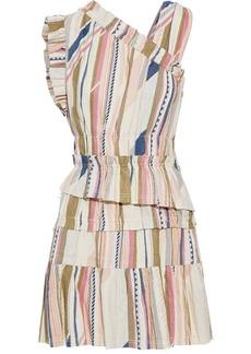 Iro Woman Luren Tiered Silk And Cotton-blend Jacquard Mini Dress Ecru