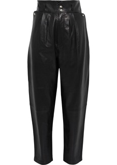 Iro Woman Lydhio Pleated Leather Tapered Pants Black