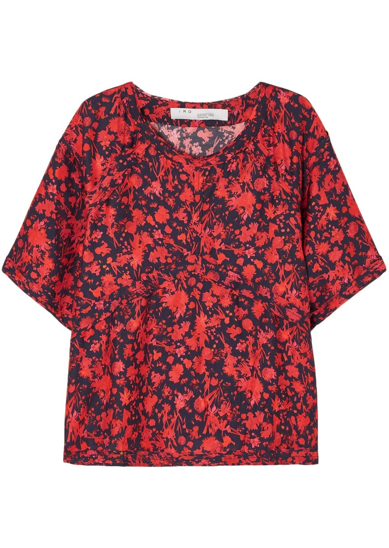 Iro Woman Magical Floral-print Satin-crepe Top Tomato Red