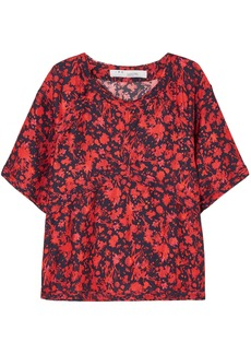 Iro Woman Magical Floral-print Satin Top Red