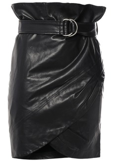 Iro Woman Magma Belted Wrap-effect Leather Mini Skirt Black