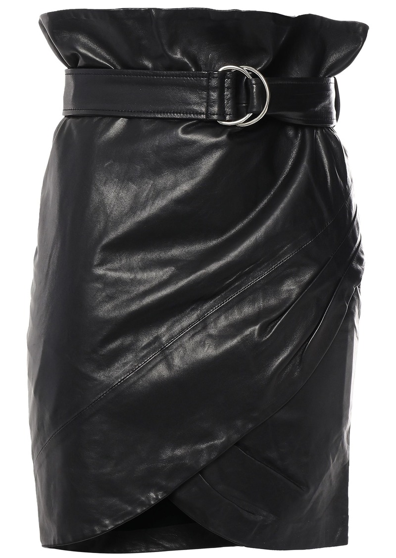 Iro Woman Magma Belted Wrap-effect Leather Mini Skirt Black