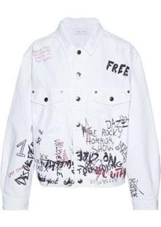 Iro Woman Mary Oversized Distressed Printed Denim Jacket White