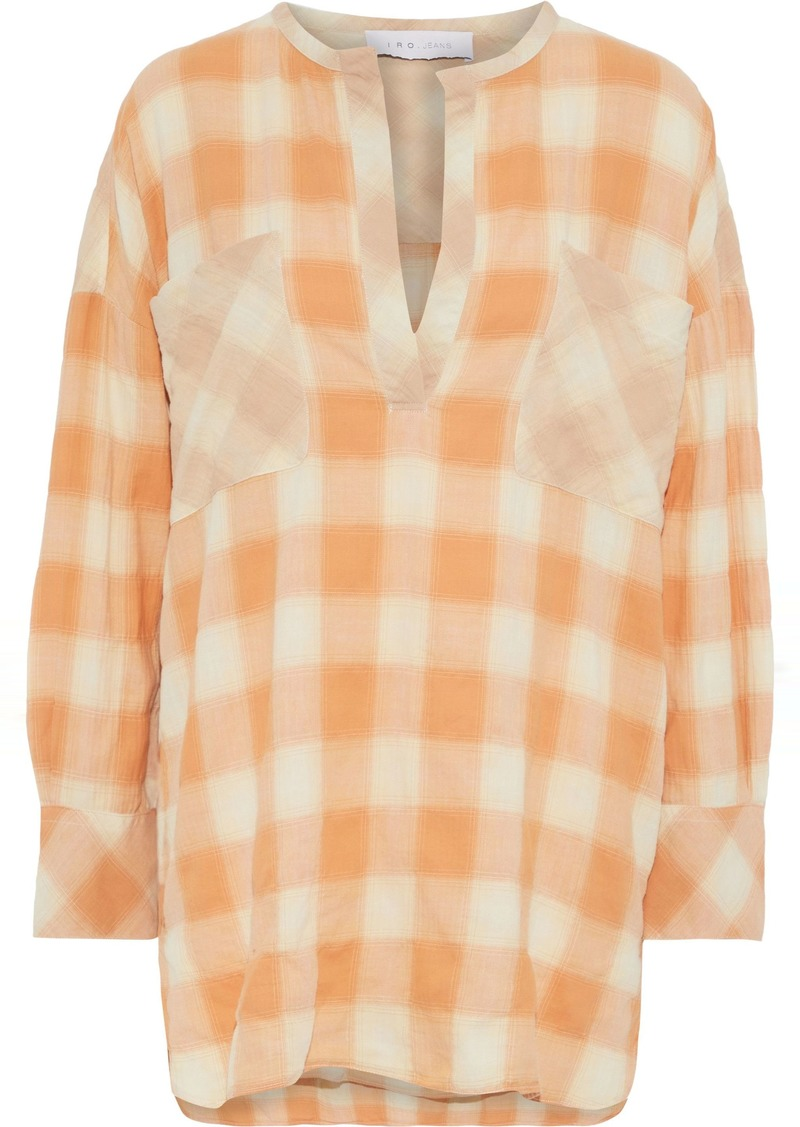 Iro Woman Mayra Checked Cotton-blend Flannel Shirt Orange