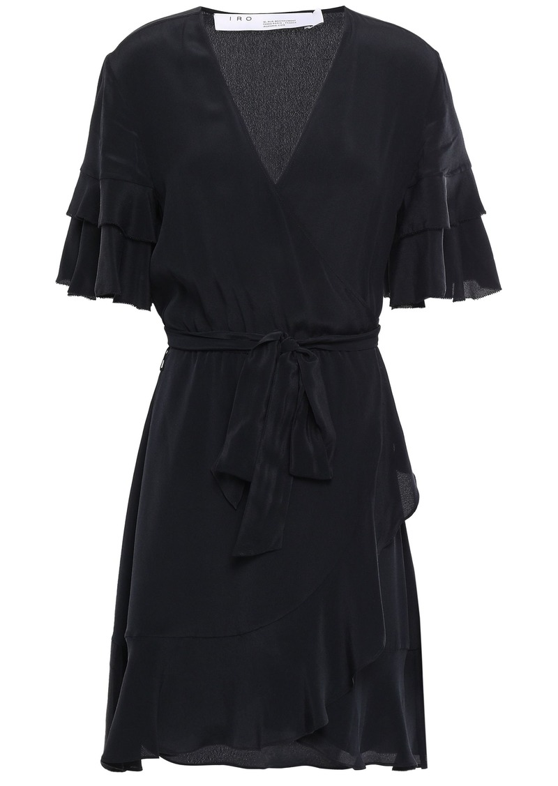 Iro Woman Meadow Ruffled Crepe De Chine Mini Wrap Dress Black
