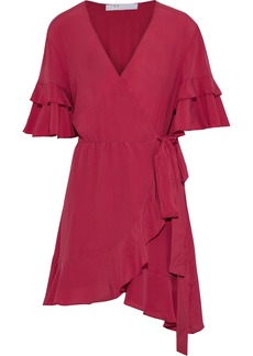 Iro Woman Meadow Ruffled Crepe De Chine Mini Wrap Dress Pink