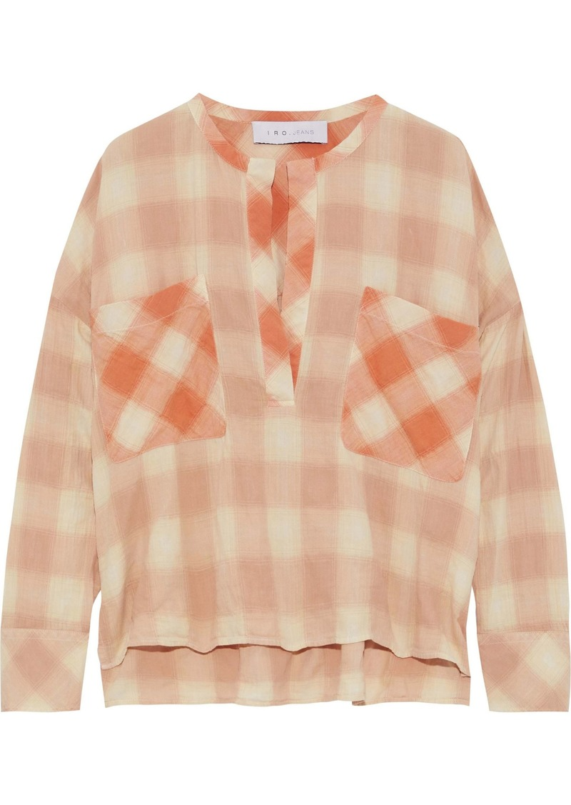 Iro Woman Melda Paneled Checked Cotton-blend Flannel Top Pastel Orange