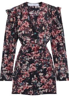 Iro Woman Merca Pleated Floral-print Silk-georgette Mini Dress Black