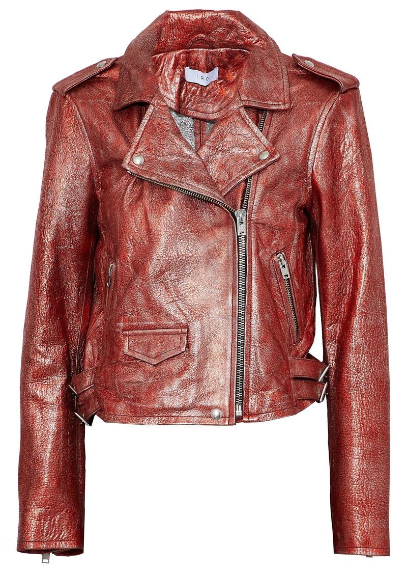 Iro Woman Metallic Cracked-leather Biker Jacket Red