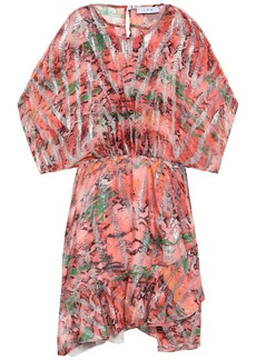 Iro Woman Printed Metallic Fil Coupé Silk-blend Mini Dress Coral