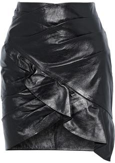 Iro Woman Mhalana Wrap-effect Ruffled Leather Mini Skirt Black
