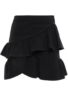 Iro Woman Mica Wrap-effect Ruffled Crepe Mini Skirt Black