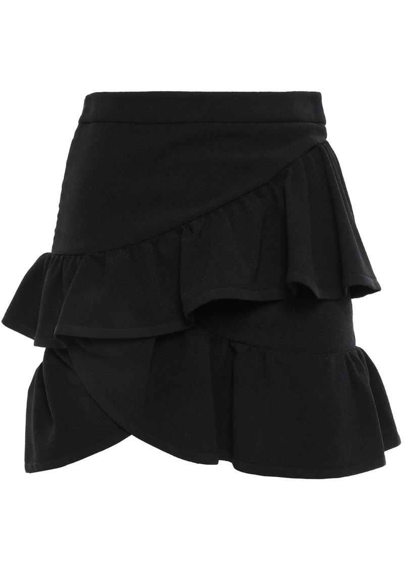 Iro Woman Mica Wrap-effect Ruffled Crepe Mini Skirt Black