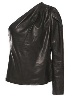Iro Woman Molia One-sleeve Leather Top Black